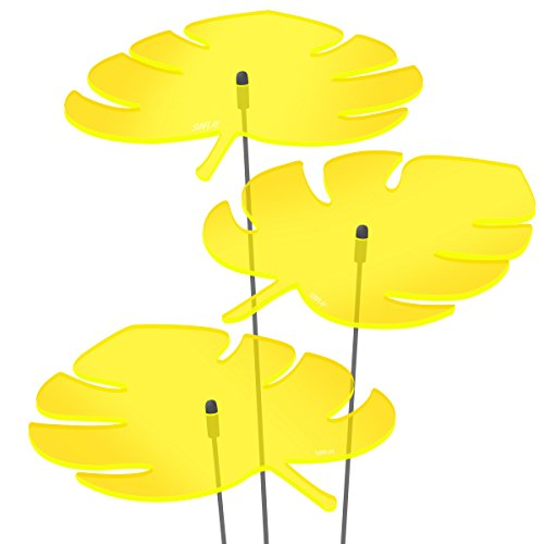 SUNPLAY Sonnenfänger - Monstera-Blatt Set - 3x Gelb- Ø 20 cm Durchmesser + Schwingstäbe