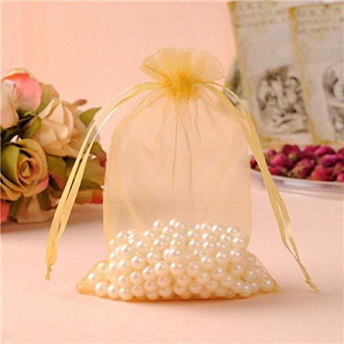 Bolsas de organza grandes de 20 x 30 cm, 50 bolsas de regalo con cordón para el embalaje de zapatillas, color dorado, 50 unidades