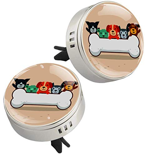 Z&Q Best Scents Diffusers Cartoon Dog With Bones Car Aromatherapy Essential Oil Diffuser with Air Vent Clip 4 PE supplementary pad Set 2 pack 1.33inX1.83in