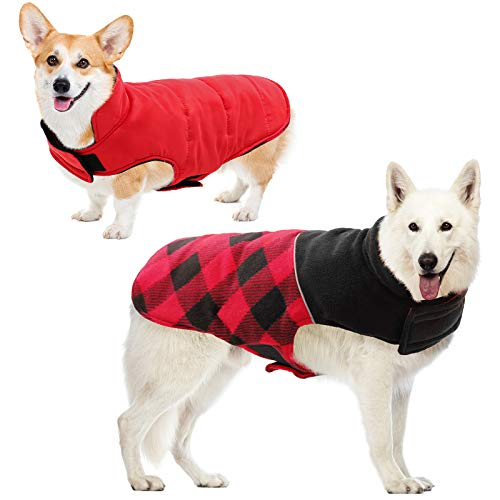 KOESON Reversible Dog Cold Weather Coat, Pet Plaid Reflective Winter Waterproof Jacket with Leash Hole, Windproof Outwear Sports Padded Vest Pet Apparel for Small Medium Large Dogs Red 3XL
