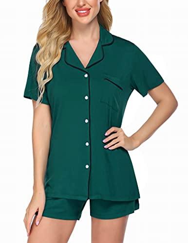 Ekouaer Women's Soft Sleepwear Short Summer Pajama Set Lightweight Button Up Nightwear Set (Green,M)