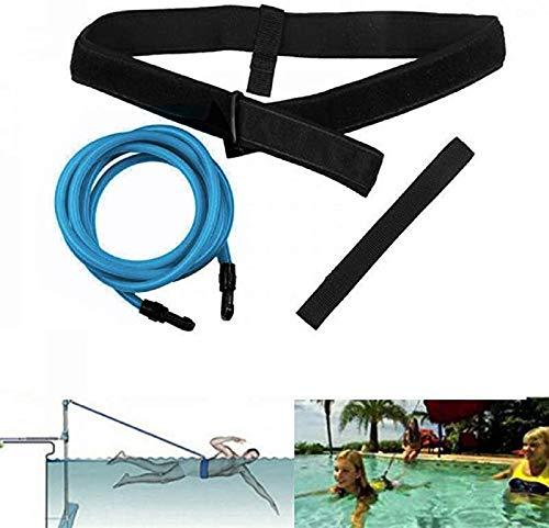 Queta Cinturón de Entrenamiento de natación Cuerda Piscina Nadar Adjustable Cinturón de Resistencia Estacionario para Natación (Azul)