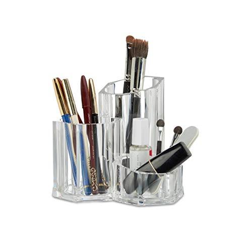 Relaxdays Pinselhalter 3-teilig, Organizer f. Kosmetikpinsel u. Make Up Zubehör, kleiner Acryl...