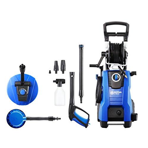 Nilfisk Hidrolimpiadora E 145 Bar con Motor de inducción de 2100 W, limpiadora de Agua a presión para hogar, Exteriores y Limpieza de Coches, Azul, 128471189 E 145.4-9 PA X- tra