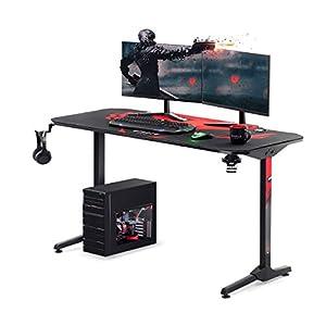 Diablo X-Mate 1400 Mesa para Gaming Escritorio para Computadora Ergonómico Carbono Gancho para Auriculares Portabebidas…