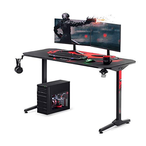 Diablo X-Mate 1400 Gaming Tisch Schreibtisch PC Computertisch Ergonomisch Carbon Tischplatte Kopfhörerhaken Getränkehalter Rutschfester Fußschutz (140 x 76 x 66 cm)