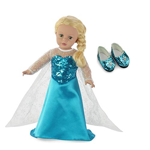 Fits 18' American Girl Dolls | Princess Elsa Frozen Inspired Doll Dress and Sparkly Snowflake Doll Shoes! | 18 Inch Doll Clothes Outfit Costume Gown