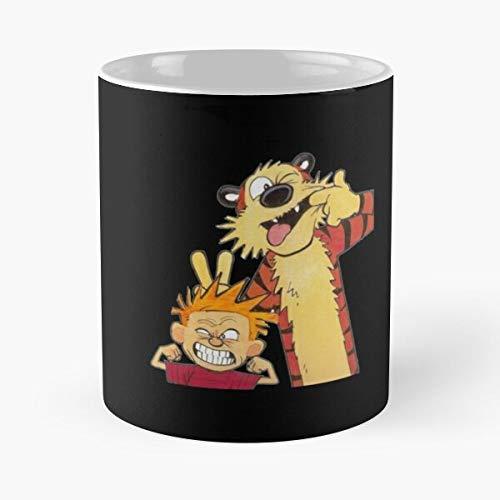 GrimDC Calvin Hobbes Cartoon 1 and Animation Boy Tiger Taza de café...