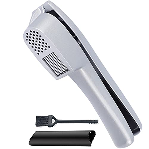Garlic Press, 2 in 1 Garlic Mince and Garlic Slice with Garlic Cleaner Brush and Silicone Tube Peeler Set. Easy Squeeze, Rust Proof, Dishwasher Safe, Easy Clean.