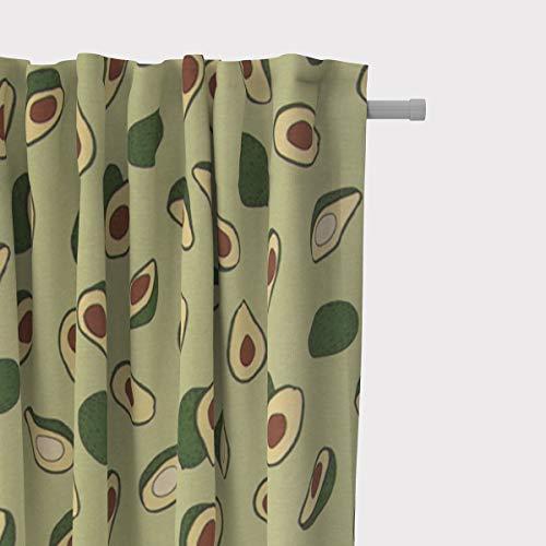 Mooi leven. Gordijn gordijn met smok tape Avocado groen bruin 245cm of gewenste lengte