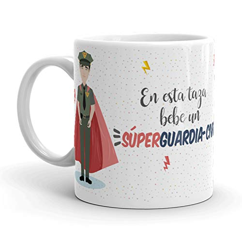Kembilove Tazas de Café de Guardia Civil Superhéroe – En Esta Taza Bebe un Súper Guardia Civil – Tazas de Desayuno para la Oficina – Taza de Café y Té para Trabajadores