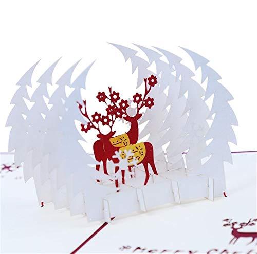 XUFAN Navidad Ciervos Elk Origami Tridimensional De Pop-Tarjetas De Felicitación Postal De La Invitación De Tarjeta De Regalo De Cumpleaños Tarjeta Tarjeta de Regalo (Color : Red)