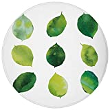 Round Rug Mat Carpet,Sage,Watercolor Art Theme Set of Green Leaves Fresh Foliage Trees Forest Woods Ecology Decorative,Green White,Flannel Microfiber Non-slip Soft Absorbent,for Kitchen Floor Bathroom