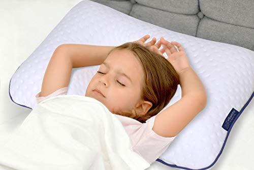 Alkamto Almohada para niños – Almohada ortopédica para el cuello de viscoelástica con funda de algodón adicional para niños y niños pequeños – Almohada viscoelástica – Bolsillo fácil de llevar