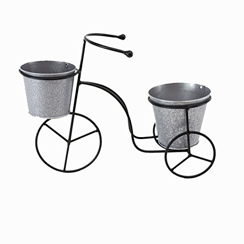 9.5' x 13.5' Metal Tricycle Planter with Wrought Iron Design and 2 Galvanized Buckets for Flowers or Herbs