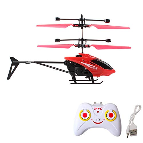 RC Helicopters, Christmas Gifts for Kids Mini RC Infrared Induction Remote Control Flying Helicopter 2CH Gyro RC Drone with Remote Controller for Indoor and Outdoor Games (Red)