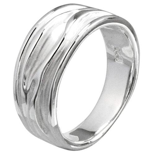 Vinani Ring Baum Rillen sandgestrahlt glänzend Sterling Silber 925 Größe 58 (18.5) RER58