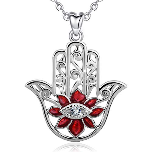 EUDORA 925 Sterling Silver Hamsa Hand Necklace Pendants for Women 'Evil Eyes' Gifts for Her 18' Red