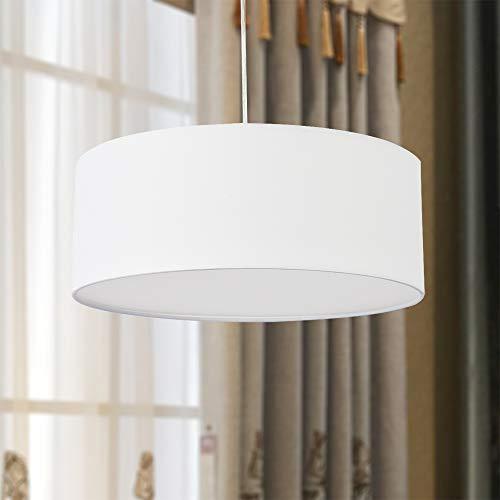 Pendelleuchte, SPARKSOR Deckenleuchte, moderner Stoff-Lampenschirm, großer weißer Trommel-Lampenschirm, rund, für Schlafzimmer, Esszimmer, Wohnzimmer, 3 Glühlampen, E27