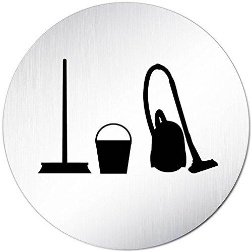 Kinekt3d Leitsysteme Türschild Hinweisschild Hauswirtschaft Putzraum Haushaltsraum Reinigungsmittel Aluminium (eloxiert) Rund 100mm Ø