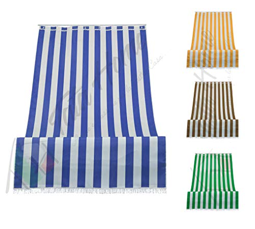 Tenda da Sole a Righe per Balcone Veranda o Terrazzo con Anelli e Ganci Tessuto Resistente da Esterno Misura cm 280x300 Colore Blu