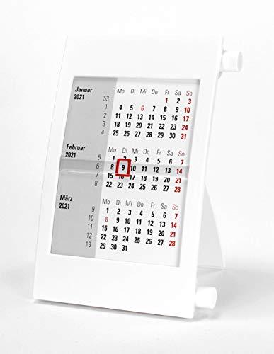 HiCuCo 3-Monats-Tischkalender für 2 Jahre (2021 und 2022) - Aufstellkalender - mit Drehmechanik - weiß - TypD2
