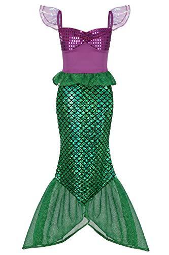 Geplaimir Meerjungfrau Kostüm Kinder Mädchen Dress Up Arielle Kostüme Prinzessin Kleider Cosplay Kinder Outfits Fischschuppen Geburtstag Party Badeanzug Ankleiden Größe 003S (3-4.5 Jahre)