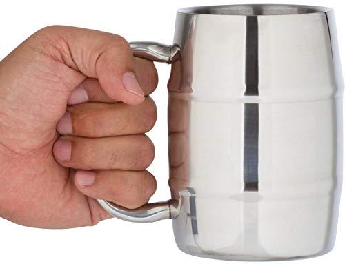 Bar Brat Insulated Coffee Mug & Beer Mug by Bar Brat / 16.9 Oz Forget Glass/Bonus Lid Included for Men / 130 Cocktail Recipe Ebook Included