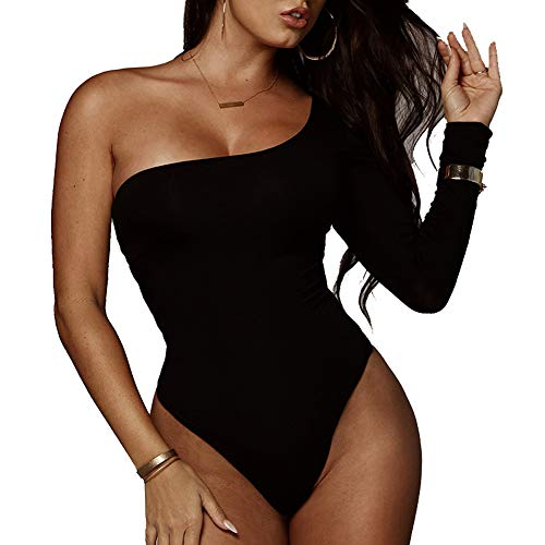 NBBNYJ Damen Elegant Body Sommer Top Schulterfrei One Shoulder Bodysuit Dessous Rompers Jumpsuit Leotard Overalls (Schwarz, Small)