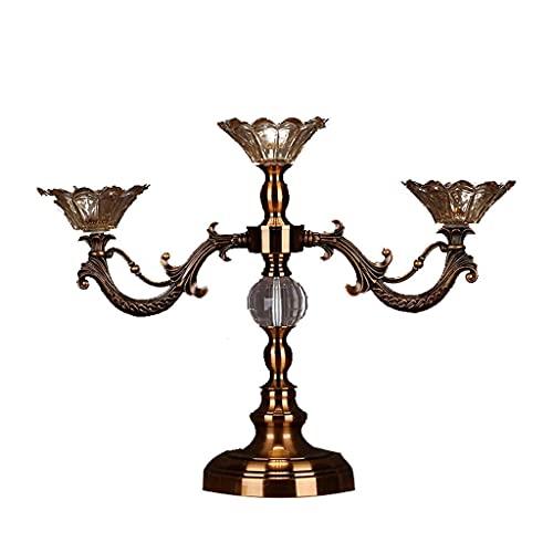 Kandelaars Houder 3-Armige Metalen Kandelaar Modern Klassiek Glazen Kandelaar Romantisch Diner Kandelaars Tafel Bruiloft Woondecoratie Kandelaars (Maat: Hoogte 38Cm)