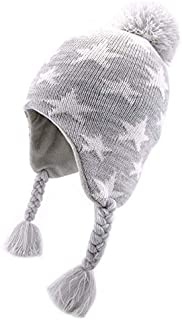 Sunarra Boys Fleece Lined Knitted Winter Hats for Babies Toddlers Girls Pompom Beanies with Earflaps Grey Star 1-2 Years