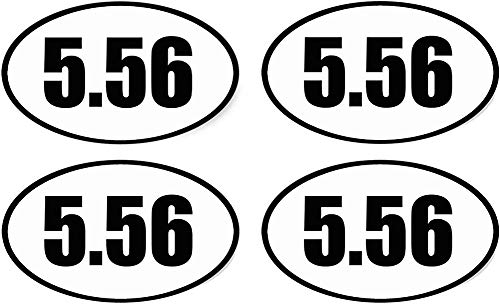 4X 5.56 Sticker Ovaal Euro Vinyl Bumper Sticker Label Weerbestendig 2e Amendement AR-15 AR15