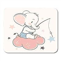 ノートブック、デスクトップコンピュータ、マウスマット、オフィス用品用のマウスパッド男の子とかわいい赤ちゃん象座っている雲とマウスパッドをキャッチ