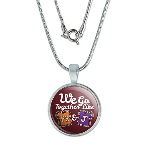 """GRAPHICS & MORE Peanut Butter and Jelly Together PB&J Best Friends 0.75"""" Pendant with Sterling Silver Plated Chain"""