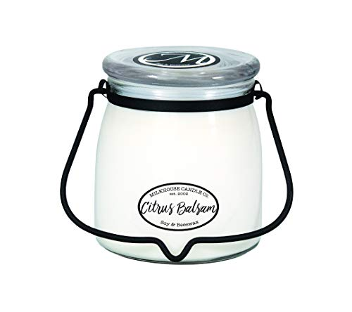 Milkhouse Candle Company, Creamery Scented Soy Candle: Butter Jar Candle, Citrus Balsam, 16-Ounce