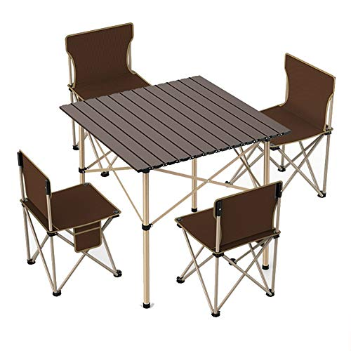 WL Outdoor Folding Table And Chairs Set, Garden Dining Furniture 4 Seater Table And Chairs Set Aluminum 4 Seater Recliner Outdoor Patio