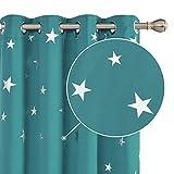 Deconovo Cortinas Opacas de Salón Dormitorio Moderno Aislantes Luz Proteccion Privacidad Infantiles Estrellas Plateada 140 x 260 cm Turquesa