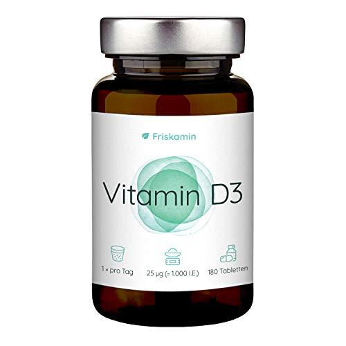 Vitamin D3 25μg (=1000 I.E.) hochdosiert vegan, 180 Tabletten entsprechen einem 6 Monate Vorrat, hochwertiges Cholecalciferol, in Deutschland hergestellt