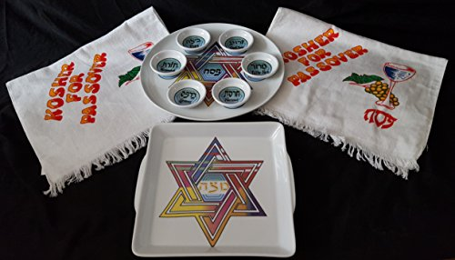 Mehrere Colored Star of David Pessach Seder Teller-Set + Bonus 2 Pessach Handtücher