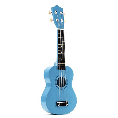 Gaoominy - Ukelele soprano (21 pulgadas, 4 cuerdas, para guitarra, ukelele hawaiano, cuerdas y púa), color azul claro