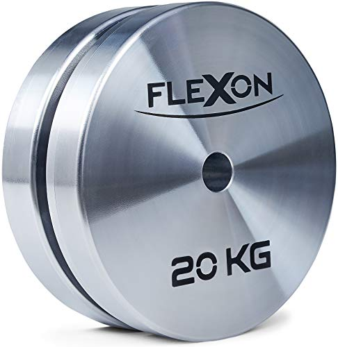 FLEXON  Dischi Pesi 20kg, 2 Dischi in Acciaio (Coppia), 40kg Totali, Dischi Pesi Palestra, Pesi per Bilanciere, Foro 28mm, 100% Made in Italy (28mm)