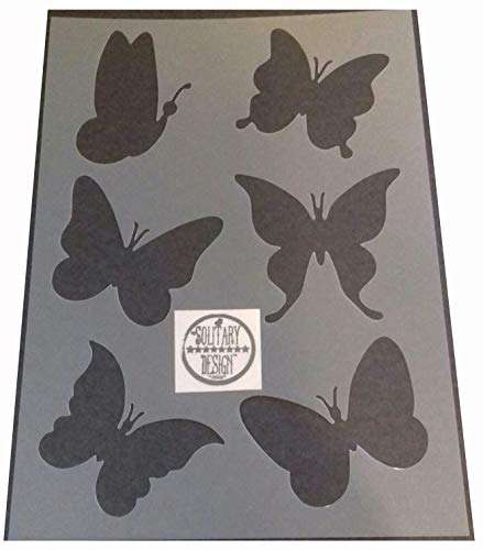 Solitarydesign Pochoir en forme de papillon style shabby chic en Mylar rustique A4 297 x 210 mm