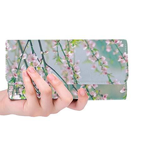 Einzigartige benutzerdefinierte Kunst Zweig rosa blüten tapete Frauen Trifold Brieftasche Lange geldbörse kreditkarteninhaber Fall Handtasche