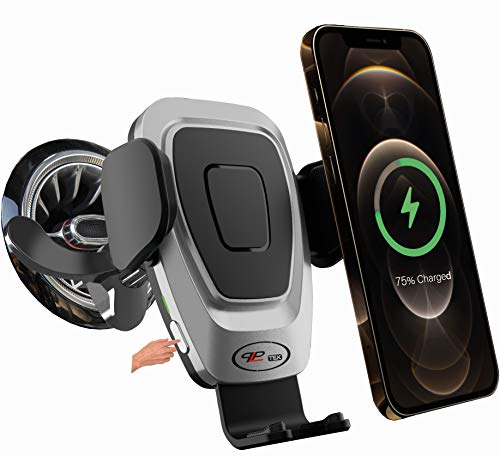 PLP TEK Soporte de teléfono móvil para coche de 15 W, con función de carga inalámbrica, motor para Mercedes Clase A, B, C, E y S (para rejilla de ventilación redonda sin cargador USB, gris-negro)