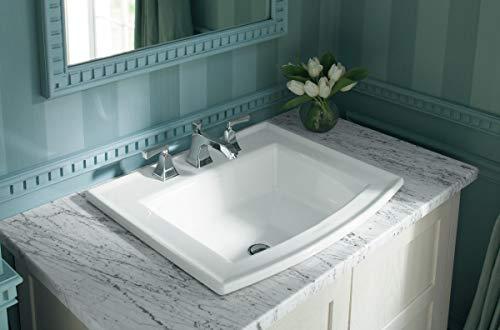KOHLER K-2356-8-0 Archer Drop-In Bathroom Sink with 8-Inch Centers, White