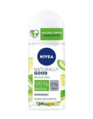 NIVEA Naturally Good Desodorante con Aloe Vera Bio Roll on (50 ml), Desodorante natural 100% vegano, desodorante sin aluminio con protección 24 horas para una piel fresca