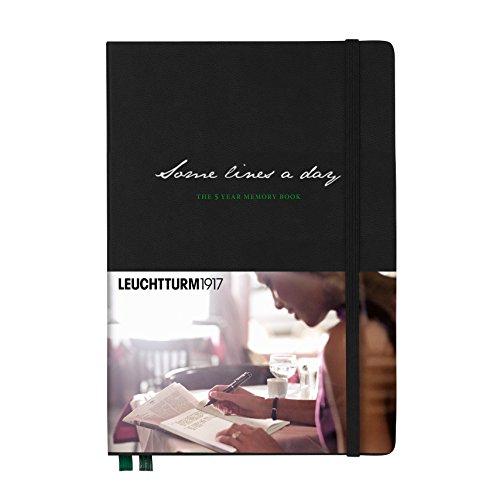 LEUCHTTURM1917 343552 Some lines a day, 5-Jahres-Buch Medium (A5), Schwarz mit grünem Lesezeichenband