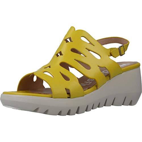Wonders Damen Sandalen Sandaletten D9003 Gelb 38 EU