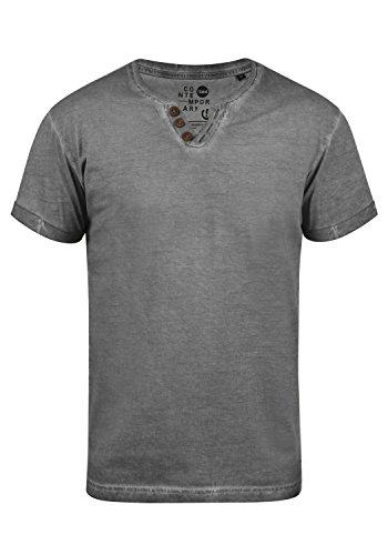 !Solid Tino Herren T-Shirt Kurzarm Shirt Mit V-Ausschnitt Aus 100% Baumwolle, Größe:L, Farbe:Dark Grey (2890)