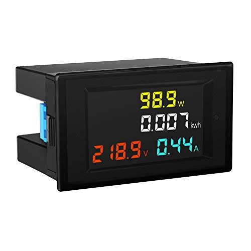 DROK AC Power Meter, AC 80-300V 100A Voltage Current Color LCD Display Panel, Digital Voltmeter Ammeter Watt Active Power Energy Battery Monitor Multimeter Volt Amp Meter with Current Transformer CT